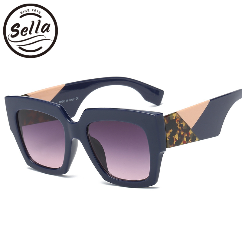 7f7ba35d6d Sella 2018 New Arrival Fashion Women Oversized Square Sunglasses Luxury  Brand Designer Thick Mixed Color Legs Cool Eyewear UV400-in Sunglasses from  Apparel ...