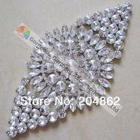 1 X Bling Diamant Form nähen auf klarglas kristall strass sash appliques mit Kupfer metall für hochzeitskleid