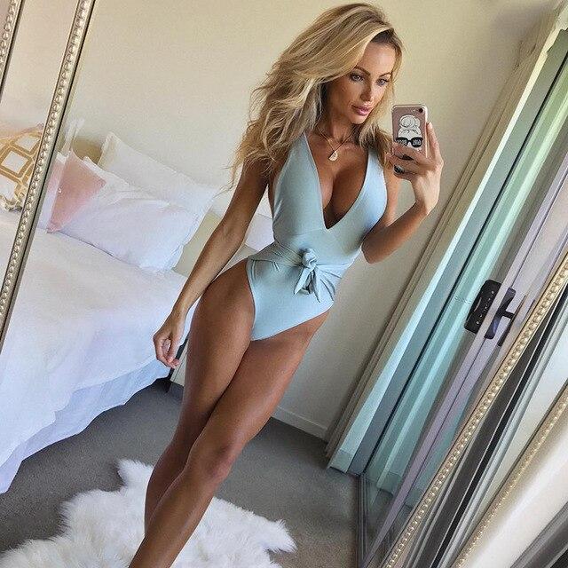 88d61d180725 2018 Estilo Verão Sexy Mint Verde BlackOne Pedaço Maiô Feminino Maiô Com  Tiras Alta Corte Bodysuit