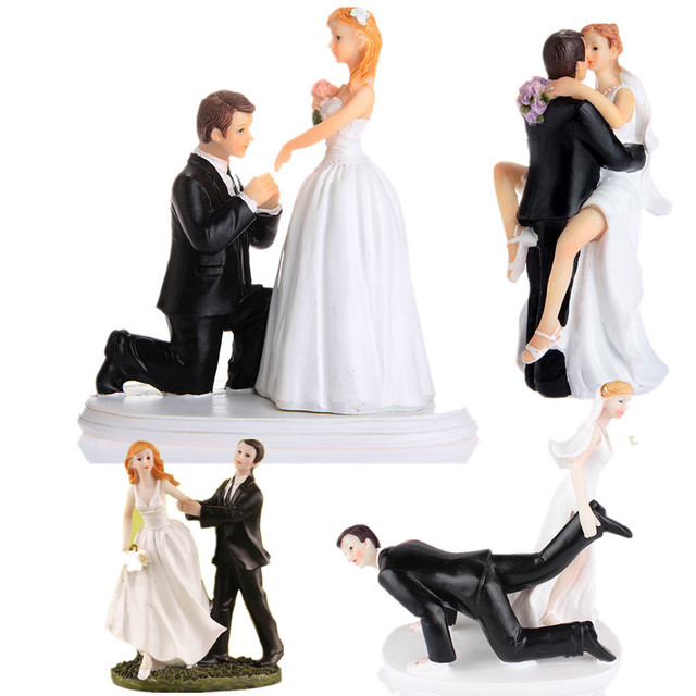 2018 Arrival Wedding Romantic Bride and Groom Toppers Couple     2018 Arrival Wedding Romantic Bride and Groom Toppers Couple Figurine  Marriage Funny Cake Topper for Wedding