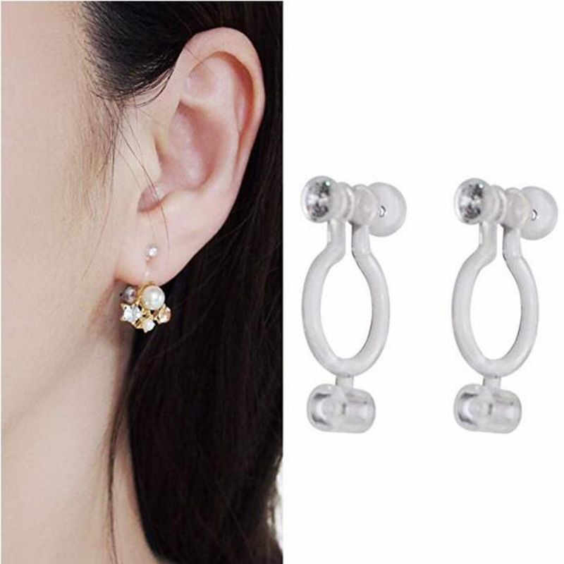 50PCS Invisible Resin Earring Clips For Non Pierced Ears With Holes Jewelry DIY