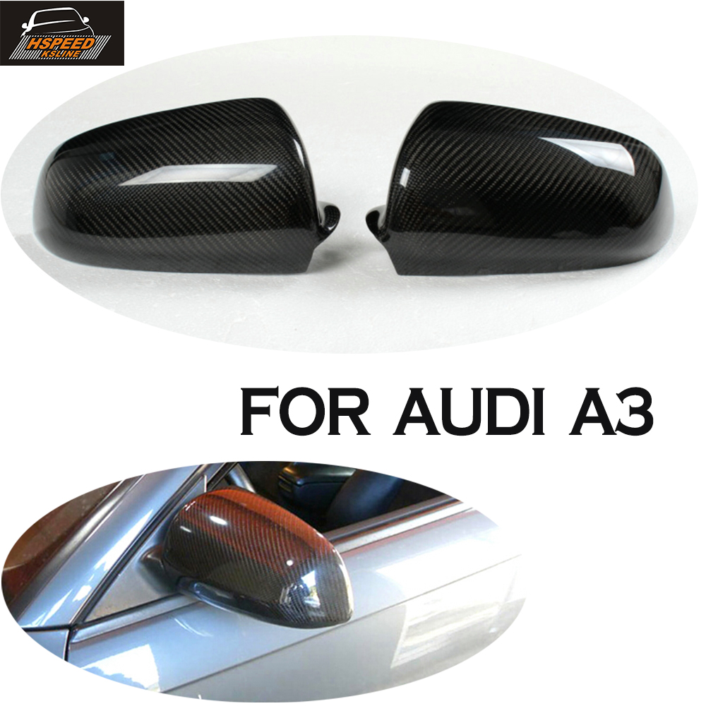 carbon Fiber Rearview Mirror Cover for Audi A3 8P 8PA 2006 2007 Add on Style Without Side Assist 2pcs carbon fiber rearview mirror cover for audi a4 b8 2013 2015