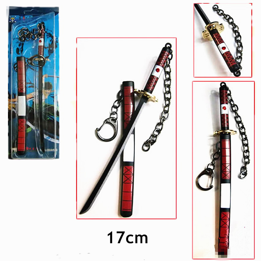 One Piece Zoro Knife Buckle With Scabbard Sword Weapon Keychain The necklace A brooch For Christmas toy periphery model