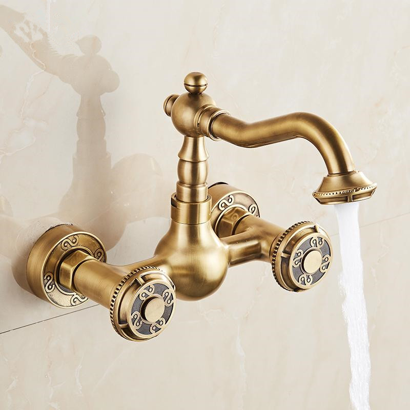 Basin Faucets Antique Brass Bathroom Faucet Swivel Wall Mounted Dual Handle Hot Cold Mixer Taps bathroom golden dual handle taps washbasin sink faucets hot and cold water mixer faucet