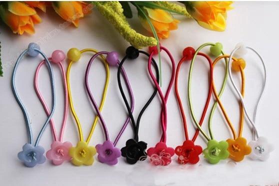 1000 шт., аксессуары для волос DIY для девочек, эластичные резинки для волос, эластичные резинки для волос с цветком сливы/бантом FJ3301