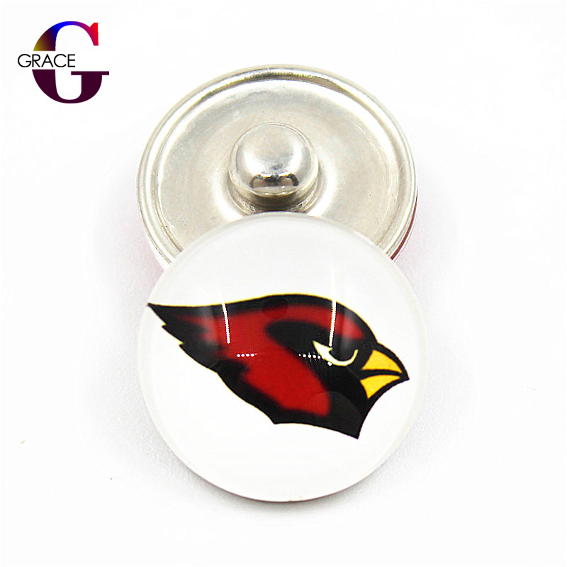 10pcs/lot Glass Arizona Cardinals Football Team Sport Replaceable Snap Buttons Fit 18mm DIY Snap Bracelet For Women DIY Jewelry
