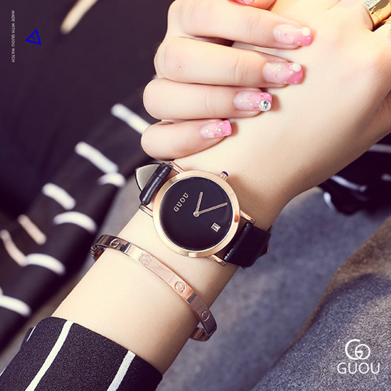 GUOU Fashion Simple Women's Watches Top Brand Auto Date Women Watches Leather Ladies Watch Clock saat relogio feminino reloj relojes mujer 2017 guou brand casual women watches fashion simple ladies quartz watch waterproof leather clock relogio feminino
