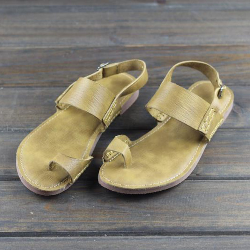Women s Sandals Summer Shoes 100 Genuine Leather Bohemian Sandals Ladies Open Toe Beach Shoes Female