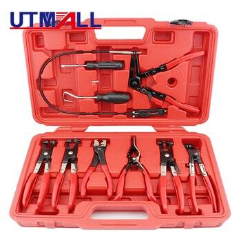 9Pcs Car Repairs Bent Nose Hose Clamp Pliers Tubing Pliers Flexible Wire Hose Clip Pliers Oil Seal Screwdriver Hand Tools Set