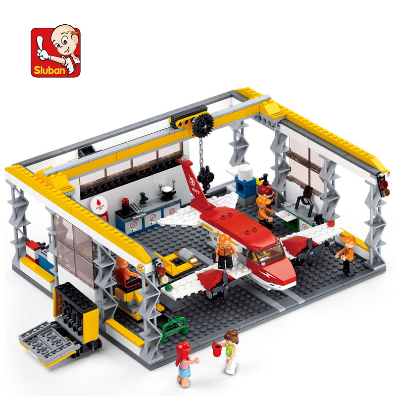596Pcs Aviation City Aircraft Repair Shop Model Building Block Toys Sluban 0372 Educational Gift For Children Compatible Lego