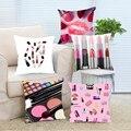 Lipstick Makeup Make Up Cosmetic Decorative Throw Pillow Digital Print Cushion Cover Hiddern Zipper Cojines for Sofa Car Chair