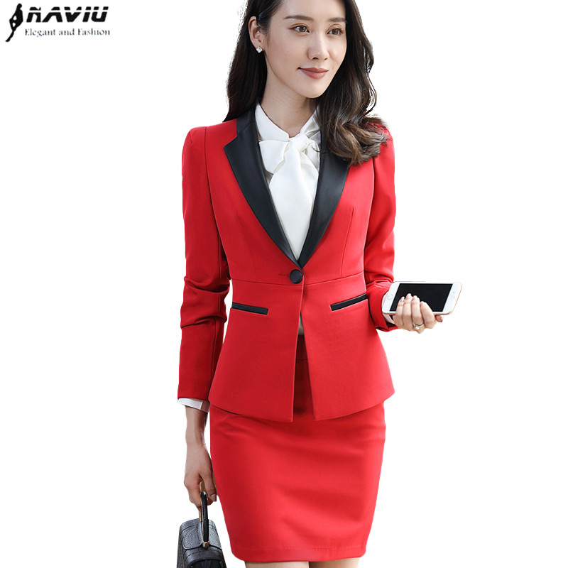 New fashion women skirt suits set Business formal long sleeve Patchwork blazer and skirt office ladies plus size work uniforms-in Skirt Suits from Women's Clothing    1