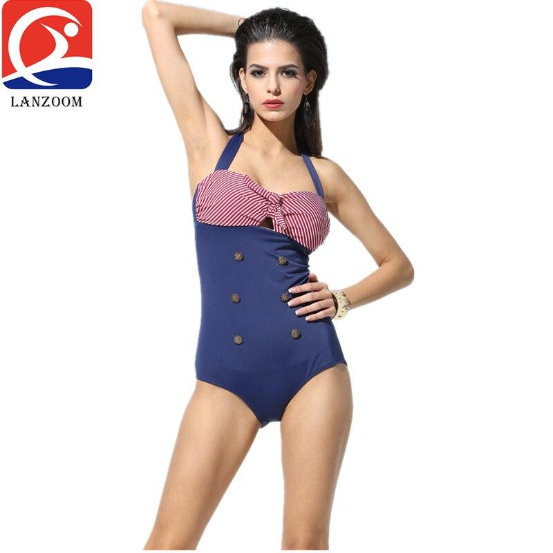 xbalamque spa and resort 4 п ов юкатан 2017 Sexy Bow stripe Women One Piece Swimsuit Resort beach spa swim wear bathing suit for woman modest vintage halter swimwear