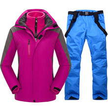 High Quality 2018 Women Ski Suit Snowboard Ski Jacket+Pants Windproof Waterproof Thicken Thermal Outdoor Winter Snow Clothes Set 2018 new lover men and women windproof waterproof thermal male snow pants sets skiing and snowboarding ski suit men jackets