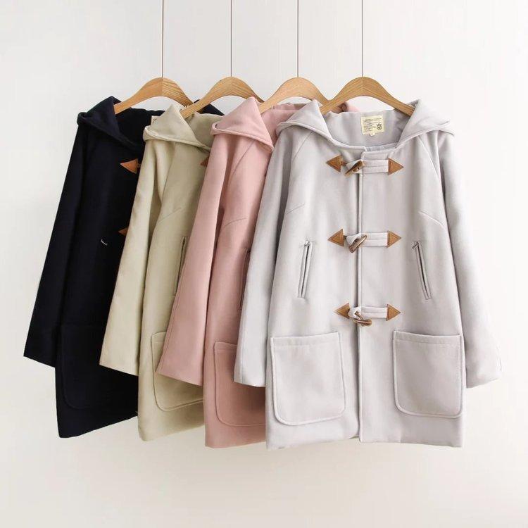 가을 겨울 새로운 스타일 대학 바람 코트 소녀 중학교 학생 얇은 경적 단추 모직 코트 조수-에서울 & 블렌드부터 여성 의류 의  그룹 1