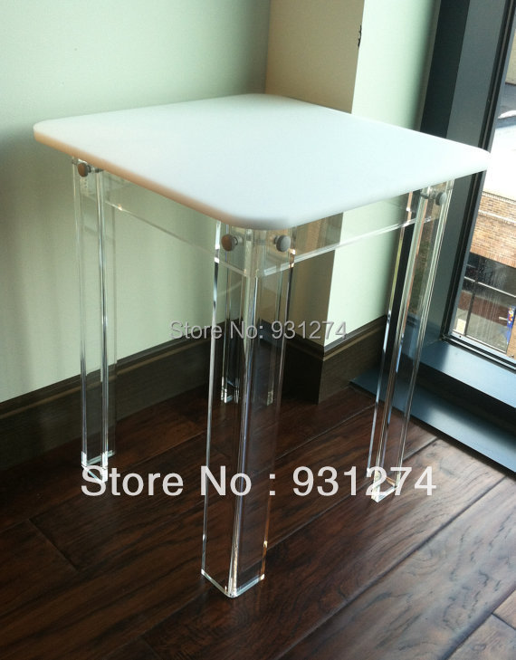 ONE LUX  square top acrylic side table colored, lucite Corner table KD Packing,Perspex living room furnitures hot sale c shaped waterfall acrylic occasional side table