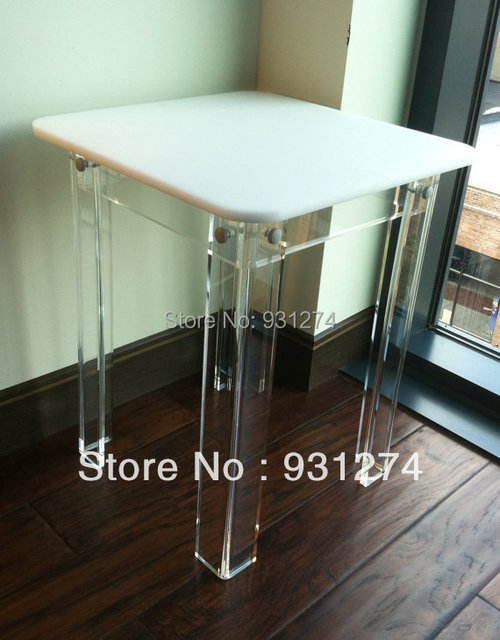 ONE LUX Square Top Acrylic Side Table Colored, Lucite Corner Table KD  Packing,Perspex
