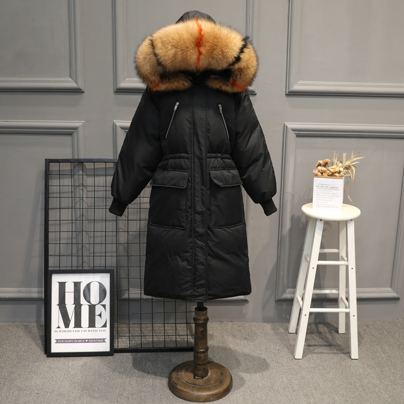Big fur winter coat thickened parkas women thicken warm long winter coat down cotton ladies down parka down jacket women tops