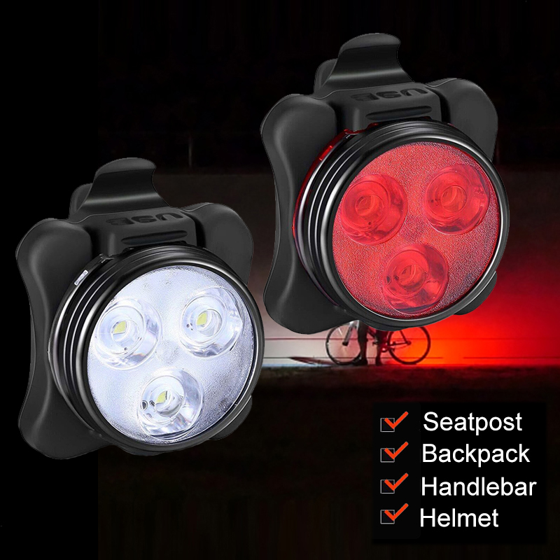 USB Charging Bicycle Lights Waterproof Cycling White Front Light Red Rear Light Perfect For Mountain Helmet Head Lamp Led Bike