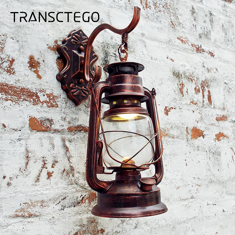 цены на TRANSCTEGO Retro Led Wall Lamp Vintage European Glass Kerosene Lamps Beside Light wandlamp Bar Coffee Shop Bathroom Wall Lights
