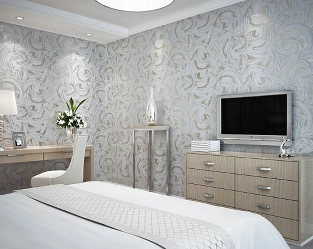 The new modern home decoration silver grey abstract for Grey bedroom wallpaper
