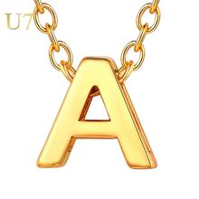 U7 A-Z 26 Initials Pendant Personalized Letter Necklace Name Jewelry For Women Accessories Girlfriend Birthday Gift P1048