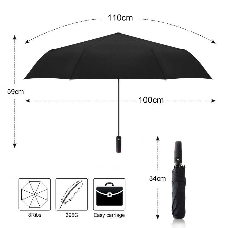 eb758571b ... Brand Classic English style Umbrella Rain Women Men Automatic 8Ribs Strong  Wind Resistant 3 Folding Travel ...