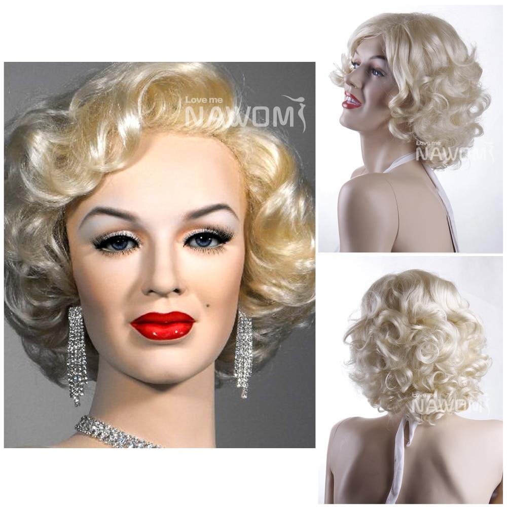 Marilyn Monroe Hairstyle Kanekalon Side Swept Bang Blonde Neck