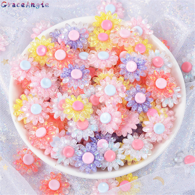 GraceAngie 10pcs Resin crystal flower charms Mix color Sunflower mobile phone shell accessories Jewelry Making findings