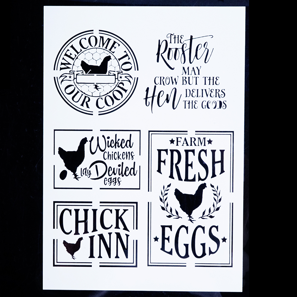 A4 A3 A2 Letter Chicken Stencils for Wall Painting DIY Scrapbooking album Paper Card Making Craft Decorative Embossing Template