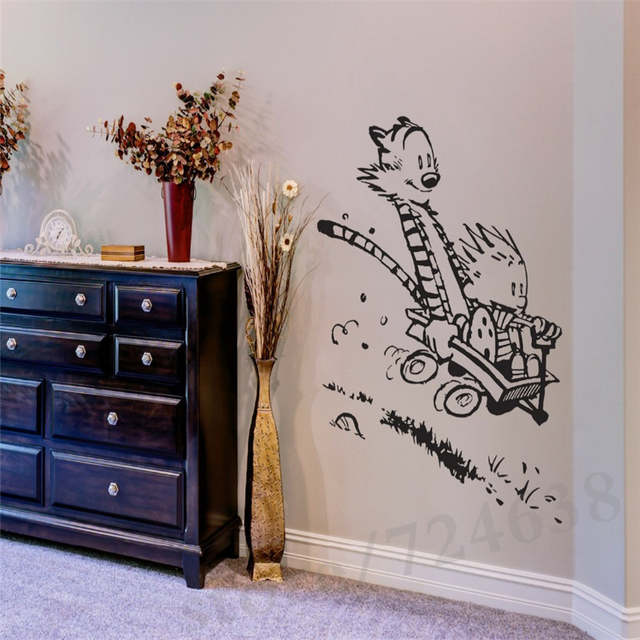 US $8.79 20% OFF Wall Decal Vinyl Sticker Calvin and Hobbes Home House  Living Room Kid Boy Girl Bedroom Art Decoration Poster Mural Paper-in Wall  ...