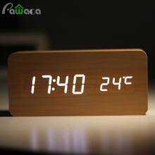 Home Decor Digital Sound Voice Control Alarm Clocks Wood LED Light Time Humidity Display Wooden Alarm Clock Electronic Clocks