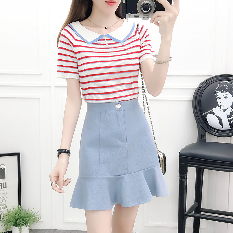 stripe color knit sweaters and fishtail skirts two-piece outfit girl vestido women clothing set summer spring suit casual S M L