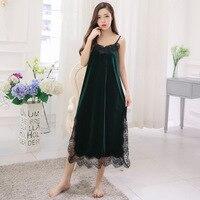 Noble Velvet Long Nightgown Lace Sides Split Nighty Sexy Night Dress Women Sleepwear Princess Nightwear Ladies Nightdress