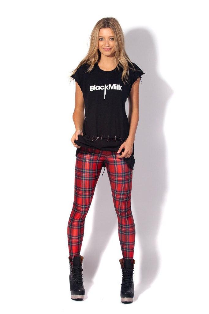 New fashion punk leggings hot girls leggings Free Shipping font b TARTAN b font RED LEGGINGS