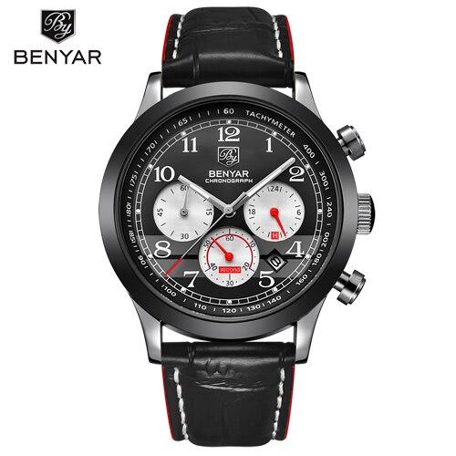 Benyar Merk Luxe Chronograph Sport Horloge Mens Fashion Waterdichte Militaire Quartz Polshorloge Datum Klok Man Relogio Masculino