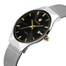 WWOOR Mens Relojes de Primeras Marcas de Lujo de Los Hombres Relojes de pulsera de Acero Inoxidable de Negocios Reloj de Cuarzo Impermeable Reloj relogio masculino