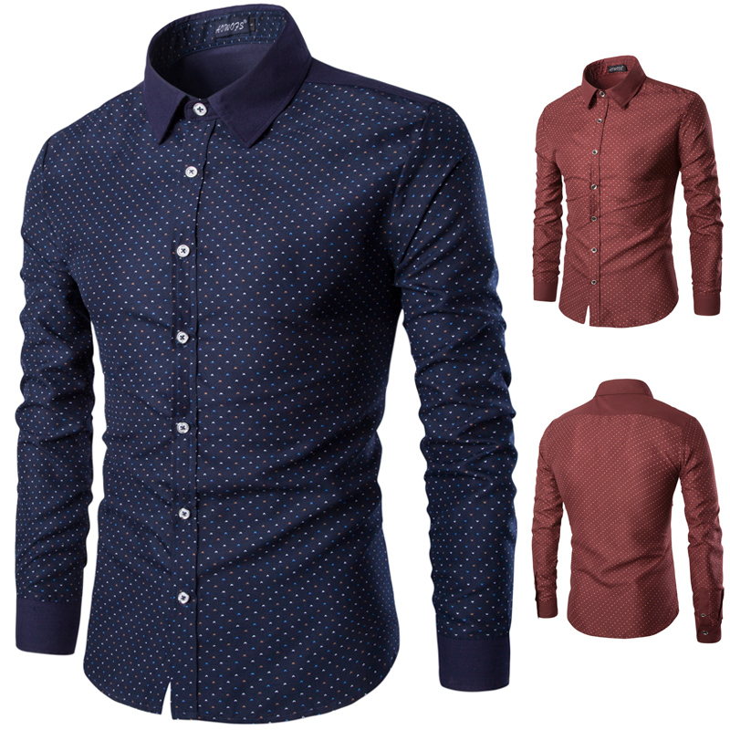 New Mens Small Dot Shirts Long Sleeve Turn-Down Collar Korean Fashion Business Slim Fit Shirts Y512