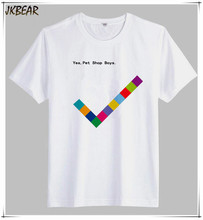 White Color British Pop Band Pet Shop Boys T Shirts for Men Music Fans Casual Cotton Tee Plus Size S-3XL