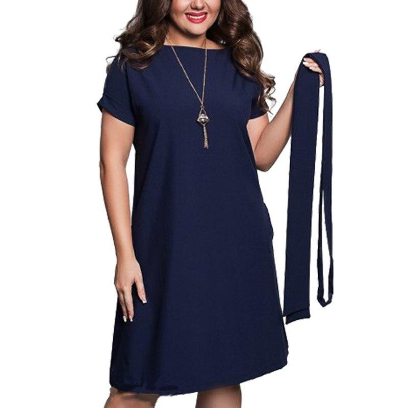 Big Size Elegant Casual Women Blue Dresses 2018 Plus Size Women Clothing Summer Style O-neck Loose Dress With Waist Belt
