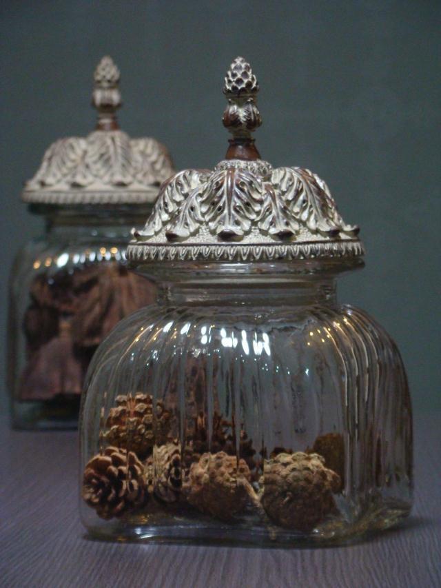 French Rococo Large Square Glass Storage Jar Candy Jar Clothing Soft Simple Decorative Glass Storage Jars