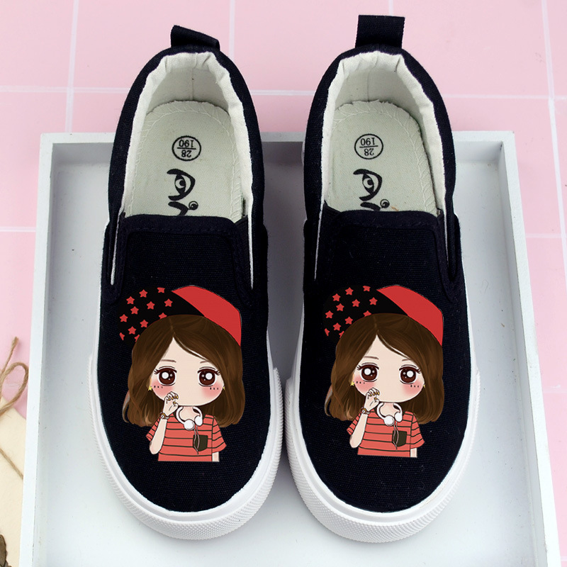 New Hand-painted Children's Shoes Girls Cartoon Hat Little Princess Print Canvas Shoes Student AB Casual Shoes Size 26 - 34 #1