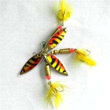 1Pc 5cm/6g Metal Lure Fishing Spoon Freshwater Fishing Hard Lure Slice Jig Bait Spoon Fishing Tackle Metal Jigging With Feather