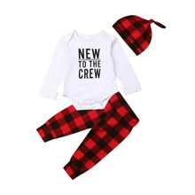 0-24M Newborn Baby Boy Girl Clothing Set Christmas Costumes Letter Rompers + Plaid Pants Outfits Autumn Winter Baby Clothes