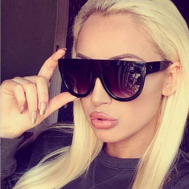 f279a8fcdb3 Black Flat Top Sunglasses Women Oculos Vintage Shadow Oversized Female Sun  Glasses Thick Frame Narrow Face