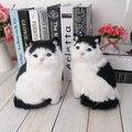 Gatos de brinquedo do gato preto e branco animal boneca vai meowth gato de estimação de pelúcia das crianças brinquedos modelo ornamentos presente de aniversário Eletrônico animais de estimação