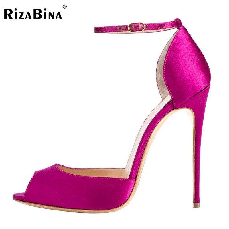 RizaBina Women's High Heel Sandals Peep Toe Pumps Handmade For Wedding Party Dress Stiletto Shoes Size 35-46 B063 onlymaker ladies women s high heel closed toe pumps rivet studded sandals handmade for wedding party dress stiletto shoes
