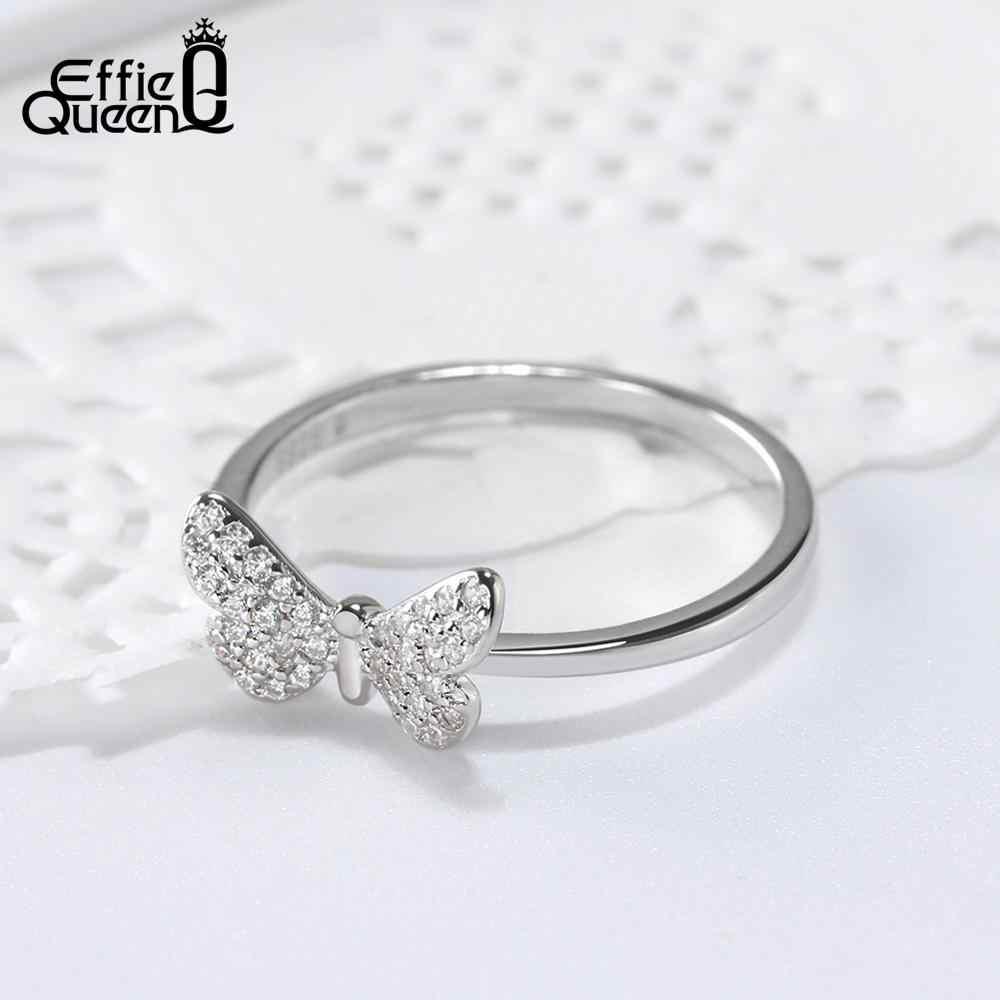 Effie Queen แหวนเงินแท้ 925 สำหรับผู้หญิงผีเสื้อรูปร่าง AAA Zircon Silver/Gold-แหวนหญิงเครื่องประดับ BR59
