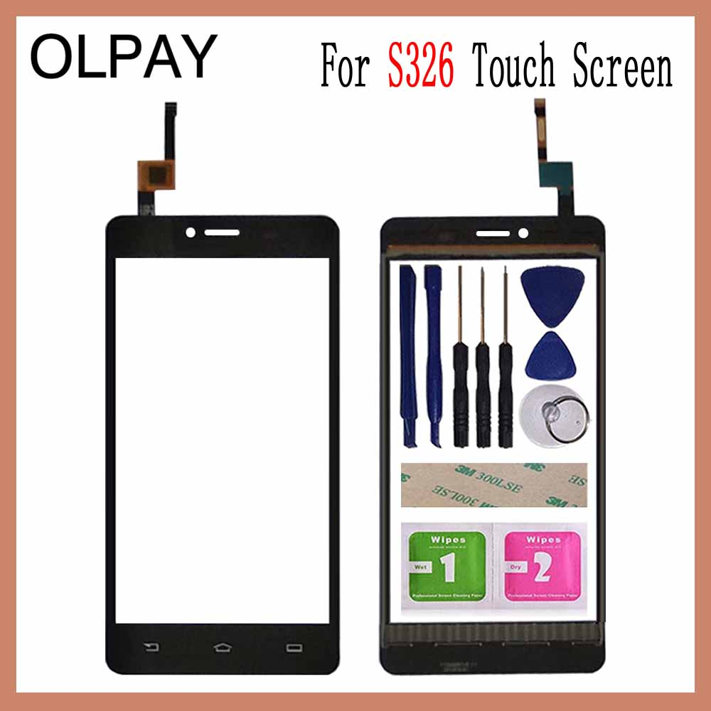OLPAY 5.0 Inch Tested Front Outer Glass For Philips S326 S 326 Touch Screen Digitizer Panel Lens Sensor Tools Adhesive