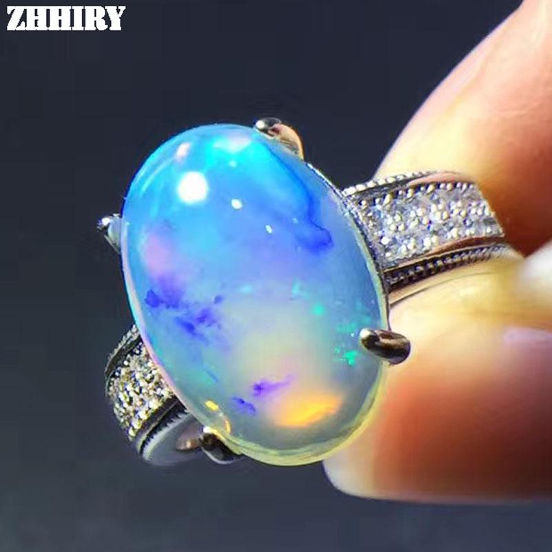 ZHHIRY 925 пробы серебро Подлинная кольцо с большим опалом огонь цвет опал природных драгоценных камней 10 * мм 14 мм кольца для женщин ювелирные у